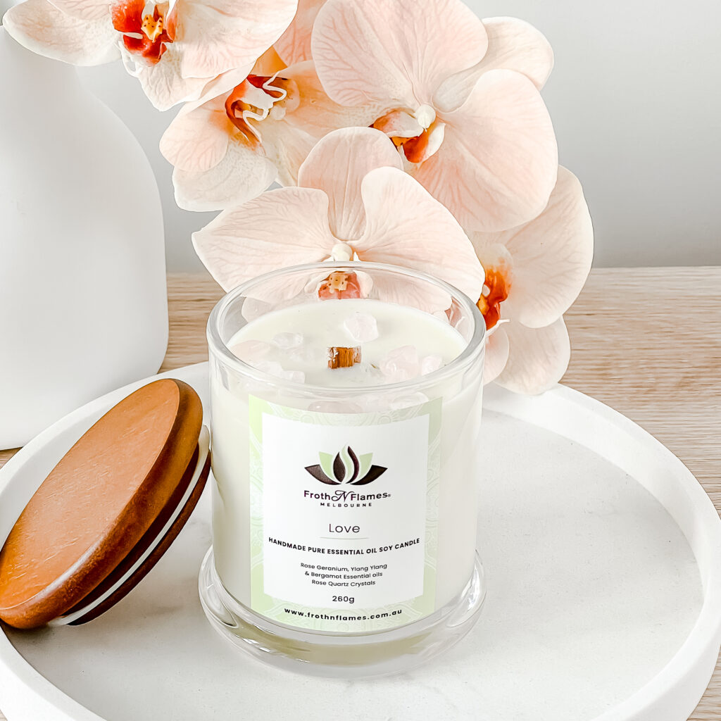 Love essential oil candle
