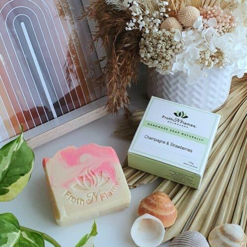 handmade soap champagne & strawberries