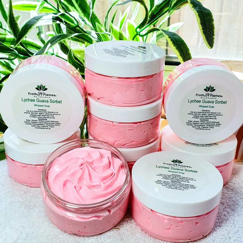 lychee guava sorbet whipped soap